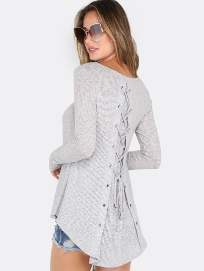 Lace Up Deep Scoop Top HEATHER GREY