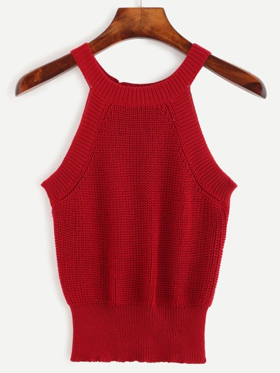 Red Halter Neck Knit Top