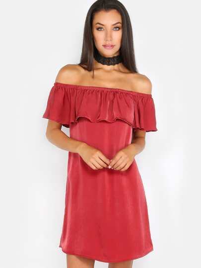 Off the Shoulder Ruffle Dress BRICK