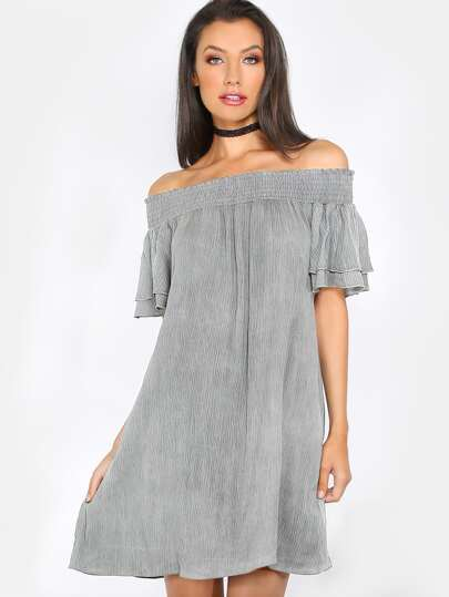 Crinkle Short Sleeve Dress LIGHT GREY