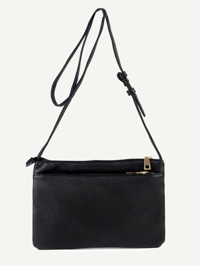 Black Zip Closure Two Layer Flat Crossbody Bag