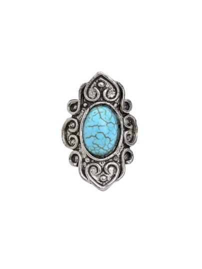Silver Plated Turquoise Retro Ring