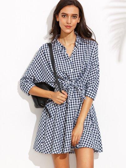 Navy Checkerboard Tie Front Shirt Dress