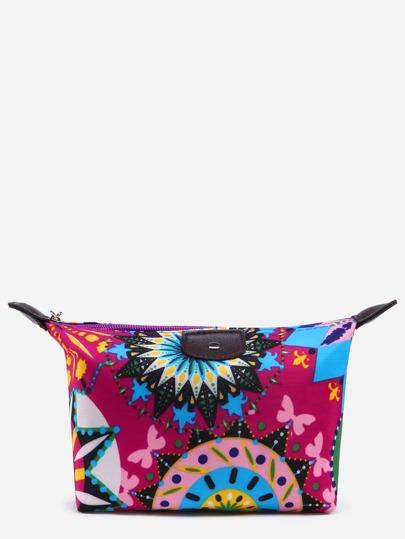 Hot Pink Circle Print Zip Top Makeup Bag