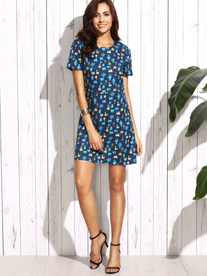 Royalblue Printed Zipper A-line Dress