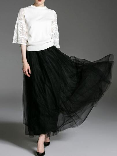 White Black Contrast Lace Top With Gauze Skirt