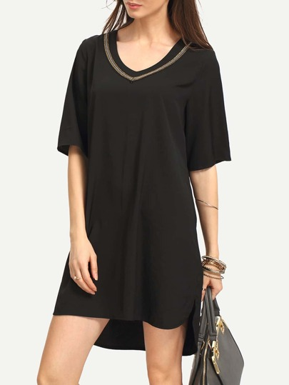Black V Neck Sequin High Low Shift Dress