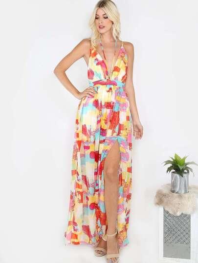 Multicolor Slit Maxi Dress MULTI