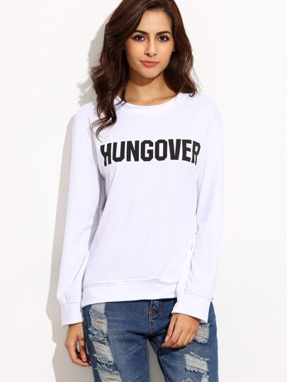 White Letter Print Drop Shoulder Pullover Sweatshirt