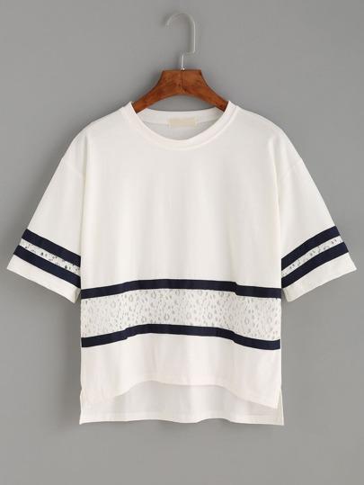 White Contrast Striped Lace Splicing Dip Hem T-shirt