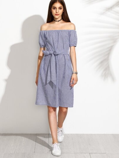 Blue Off The Shoulder Elastic Cuff Stripe Bow Tie Dress