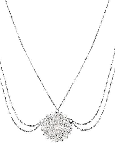 Silver Medallion Pendant Draped Chain Head Piece