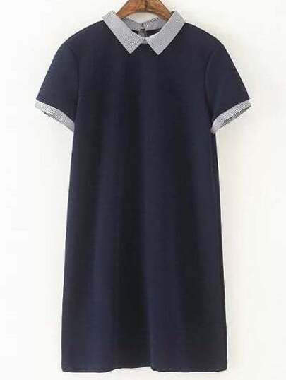 Navy Peter Pan Collar Key-hole Dress