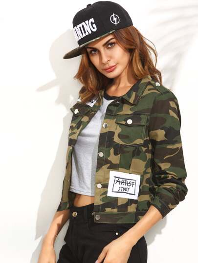 Army Green Camouflage Print Buttons Front Jacket With Pockets