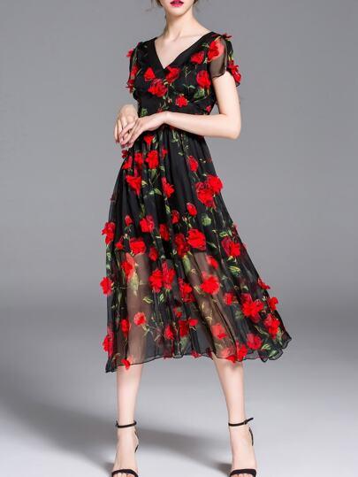 Applique elegantes Midi-Kleid  V-Ausschnit-schwarz