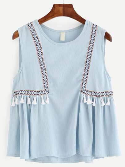 Blue Embroidered Tape Detail Tassel Trim Top