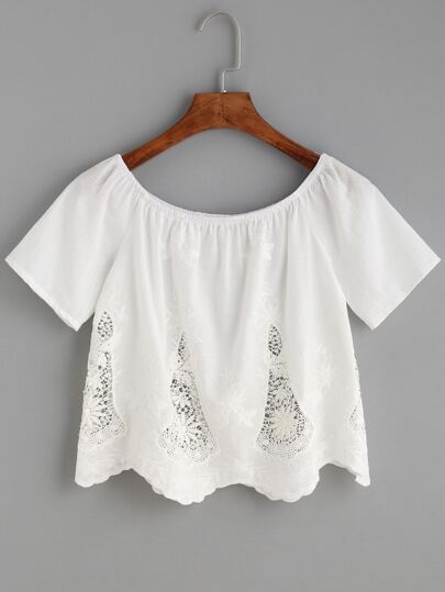 White Crochet Insert Embroidered Top