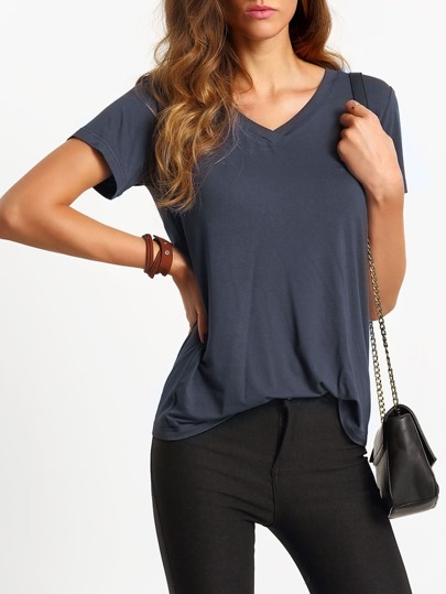 Dark Grey V Neck Short Sleeve Casual T-shirt