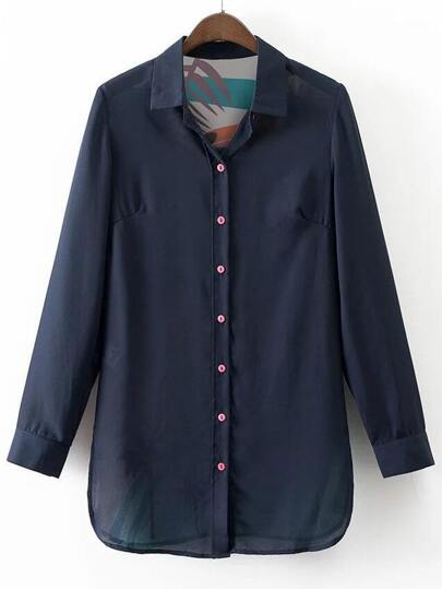 Navy Lapel Printed Button Chiffon Blouse