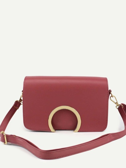 Red Metal Ring Accent Flap Bag