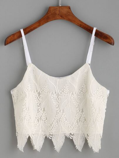 Beige Embroidered Lace Overlay Cami Top