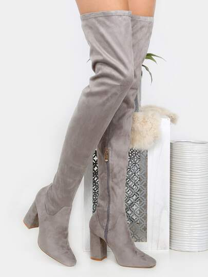 Square Toe Faux Suede Thigh High Boots GREY