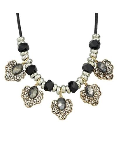 Black Flower Statement Collar Necklace
