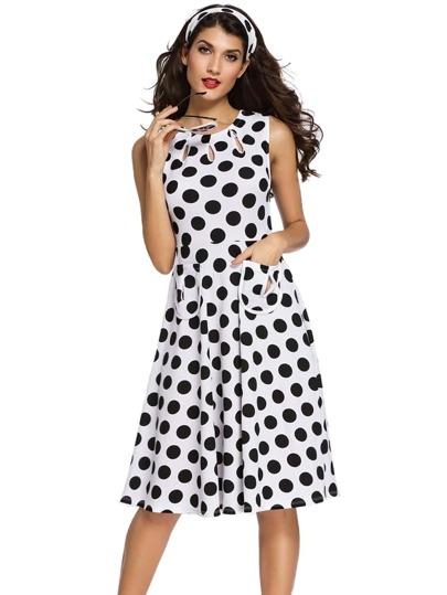 White Polka Dot Cut Out A-Line Dress