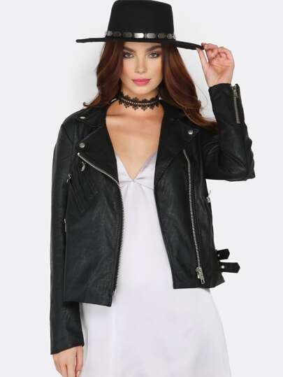Buckle Faux Leather Jacket BLACK