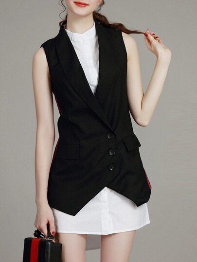 Black Waistcoat Two-piece High Low Dress