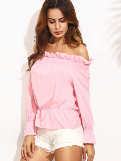 Pink Off The Shoulder Ruffle Long Sleeve Peplum Blouse