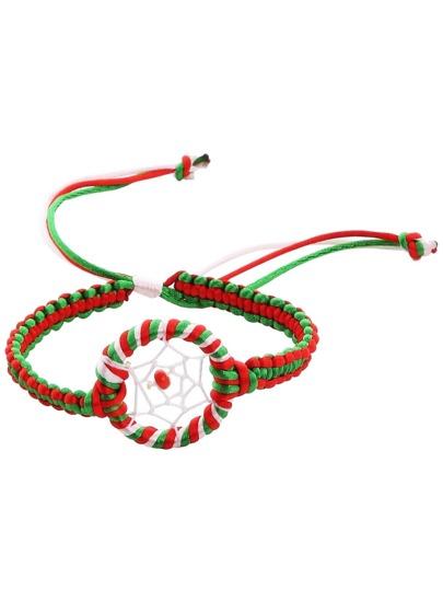 Multicolor Braided Beaded Bracelet