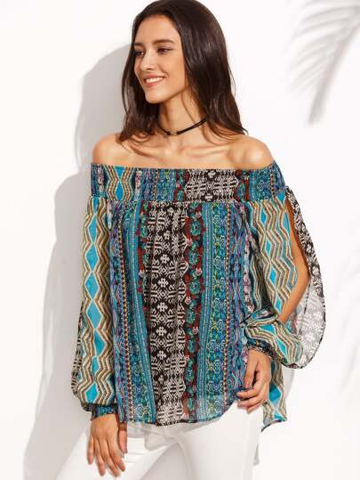 Multicolor Print Off The Shoulder Split Sleeve Blouse