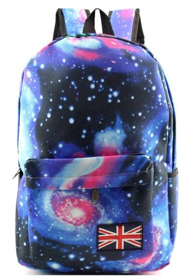 Blue Galaxy Print Canvas Backpack
