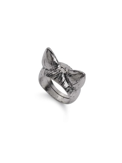 Silver Bronze Cat Ear Shaped Retro Ring