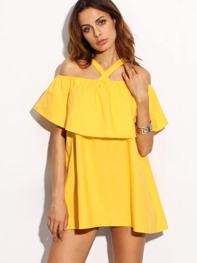 Yellow Crossover Cold Shoulder Ruffle Dress