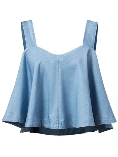 Blue Ruffle Denim Crop Top