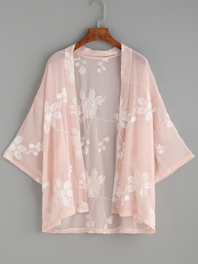 Flower Embroidered Semi-Sheer Kimono