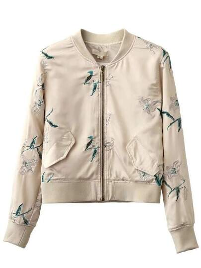 Apricot Crew Neck Embroidery Pocket Jacket