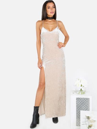 High Slit Spaghetti Strap Velvet Dress CHAMPAGNE