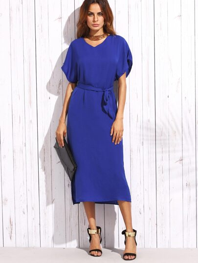 Blue Self Tie Mesh Insert Flutter Sleeve Dress