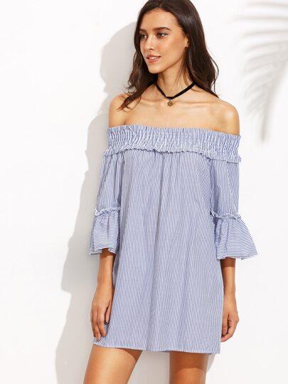 Blue Vertical Striped Smocked Off The Shoulder Dress