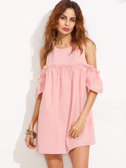 Pink Ruffle Cold Shoulder Shift Dress