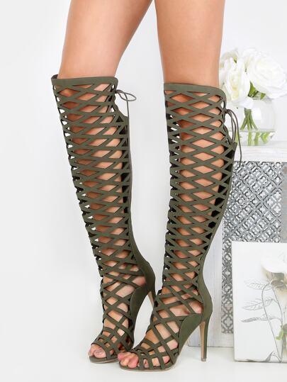 Stiletto Lattice Thigh High Heels SAND