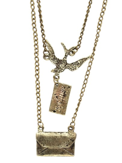 Double Chain Bird Envelope Pendants Necklace