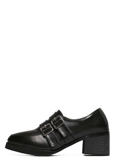Black Almond Toe Monk-strap Chunky Pumps