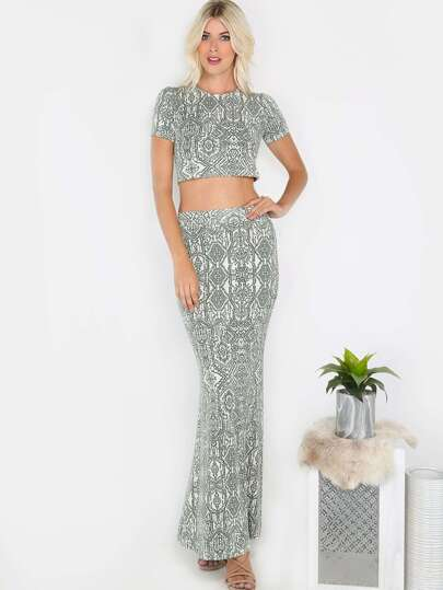 Tribal Print Maxi Matching Set OLIVE