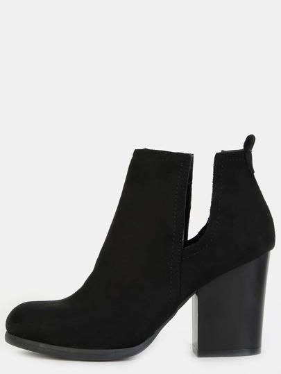Faux Suede Block Heel Ankle Boots BLACK