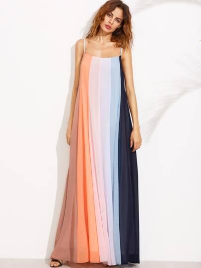 Color Block Spaghetti Strap Maxi Dress