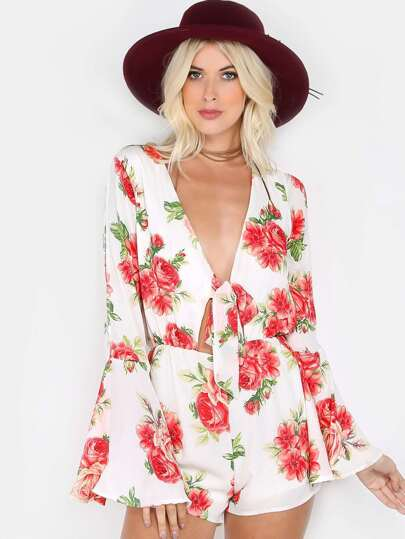 Floral Tie Center Long Sleeve Romper IVORY